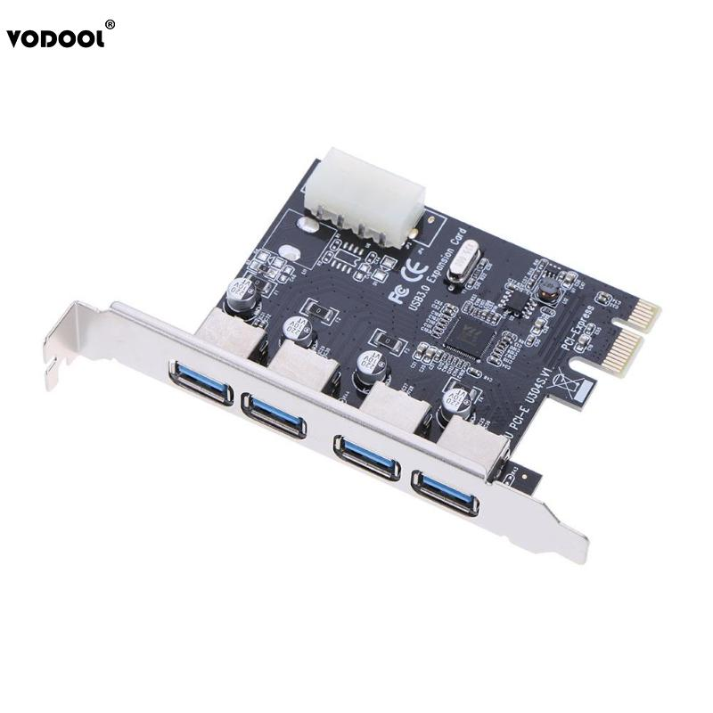 High Quality PCI-E to 4 Port USB 3.0 High Speed UP to 5Gbps Hub Card PCI-E to USB Express Expansion Card Add On Cards high quality pci e to usb 3 0 4 port express riser expansion card extender adapter for mining high speed extra power connector