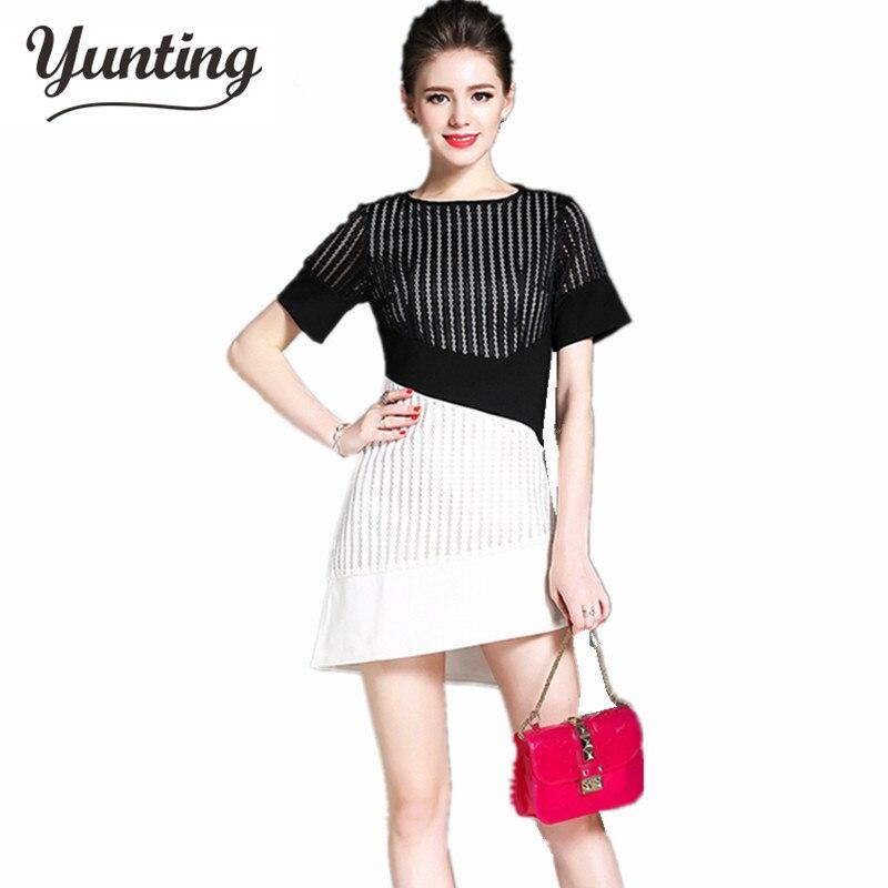 S-2XL sale Summer Dresses Hollow Out Women Short Sleeve Mid Waist Hit Color Elegant Irregular Mesh Vestidos Casual Dress