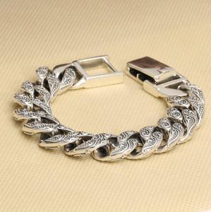 Image 2 - Czyste srebro S925 ciężki gruby rzeźbiony Link Chain Flat crosss bransoletka lite srebro bransoletka srebro 925 biżuteria srebrna