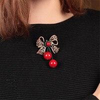 Czerwony sweter w stylu retro narodowy Brąz kolor łuk Czerwony kamień broszka Odzież stanik Szal pins biżuteria kobieta hurtownie