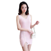 2017 Sexy Mini Dress Women V Neck Knitted Dresses Female Backless Cleeveless Cute Candy Color Bodycon