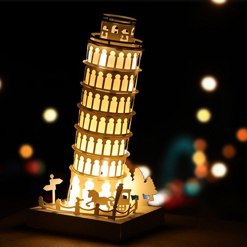Creative DIY Led Lumière Leanng Tour De Pise Surprise Ami D'anniversaire Cadeau Accueil Décoration De Bureau De Mode Modélisation Lampe Historique