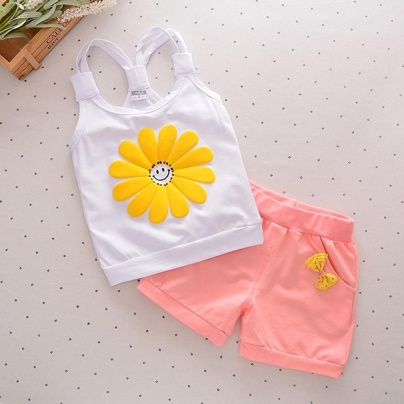 2016 Fashion Toddler Korean Baby Girls Summer font b Clothing b font Sets Bow Sunflower Girls