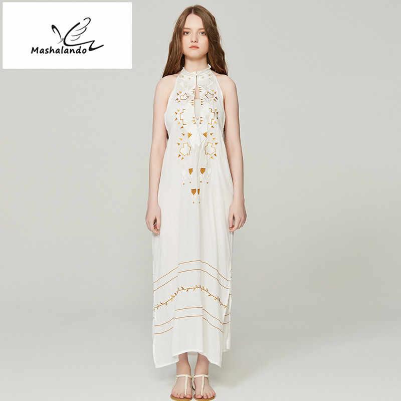 afd6fc329eb507b В богемном стиле платье с вышивкой с длинным рукавом Белое платье Винтаж  Для женщин Летние кисточкой