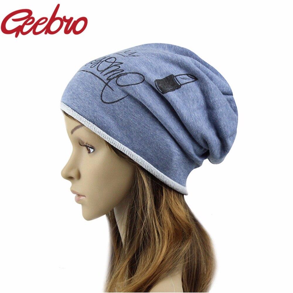 Geebro Funny Beanies Hats For Women 2017 Thin Solid Hats Women Winter  Skullies Cartoon Balaclava Bonnet Femme Spring Caps JS285 4d7f43d15c1