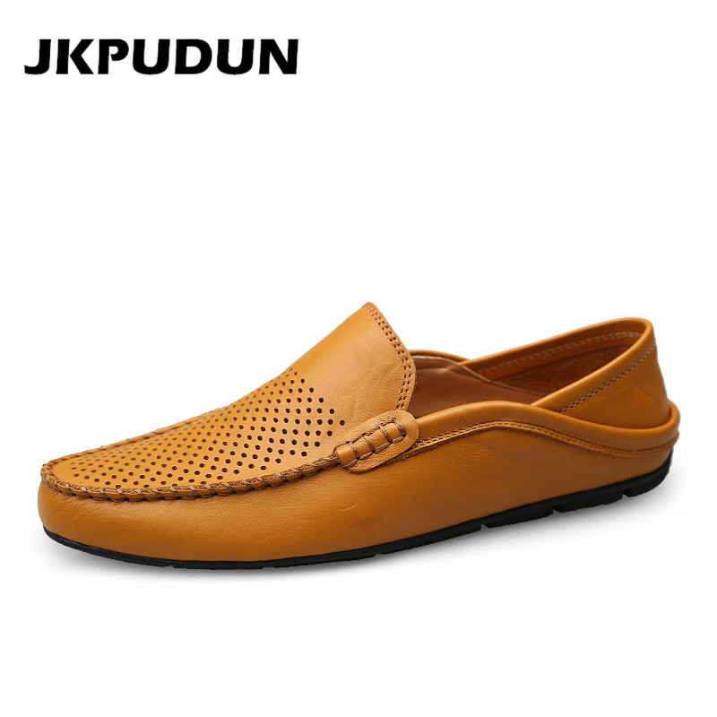 JKPUDUN Italian Summer Hollow Shoes Men Casual Luxury