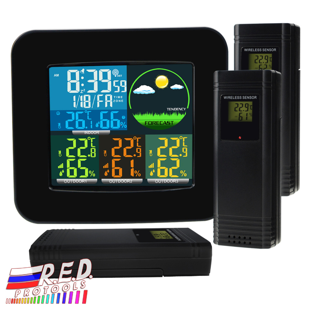 Digital Weather Station Rcc Dcf With 3 Indoor Outdoor