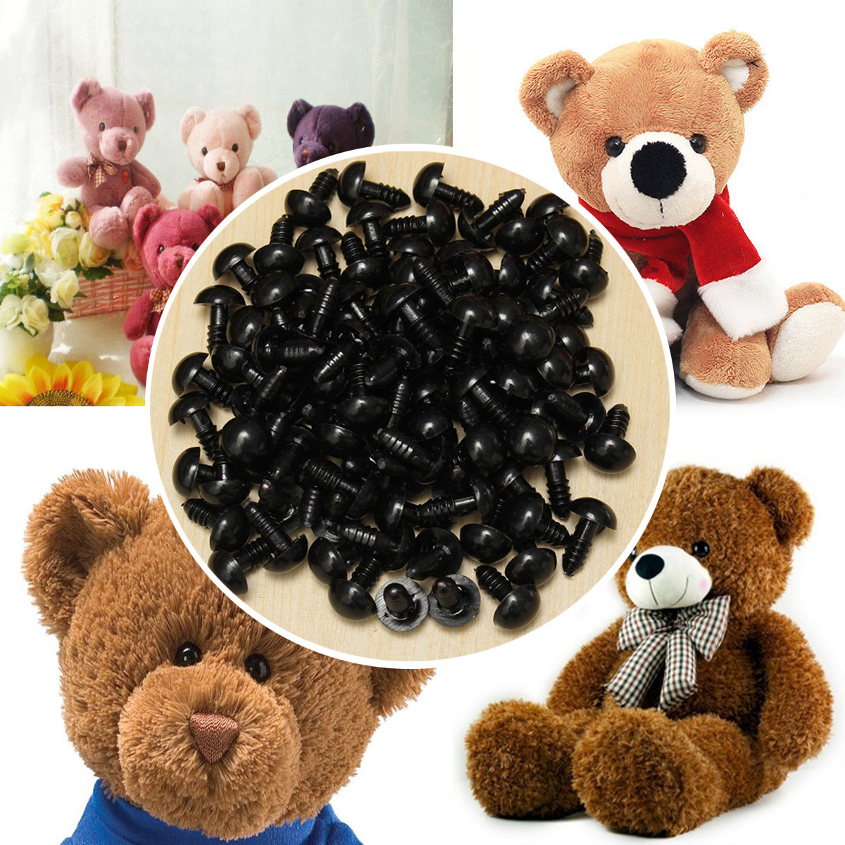 100Pcs/Bag DIY Doll Toy Eyes 12mm Black Plastic Safety Eyes Puppets Doll Crafts Doll Eyes Handmade Accessories with Washers 100set box 10mm 12mm plastic craft toy doll eyes safety eyes handmade accessories children diy creative toys dolls accessories