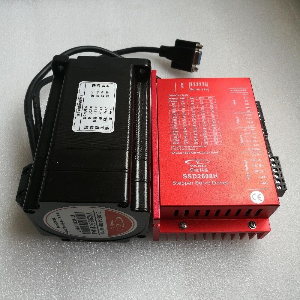 86mm NEMA34 2 phase boucle fermée stepper moteur 8N. m (1143oz-in) YK286EC118A1 arbre diamètre 14mm avec chauffeur SSD2608H
