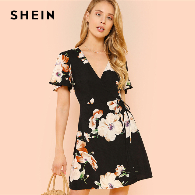 5c8cfa2f9ae SHEIN Slit Flutter Sleeve Surplice Wrap Floral Dress Black Deep V Neck High  Waist Dresses Women