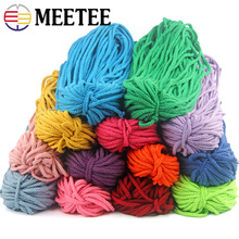 Meetee 40meters 5mm Colorful Eight-strand Cotton Rope Twisted Cord Woven Thread String Home DIY Decoration Crafts AP276