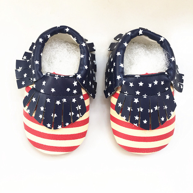 4c2cdf58203a US Flag First Walkers Leather Baby shoes Mixed Colors Toddler Baby  moccasins Fringe stripe boys Shoes