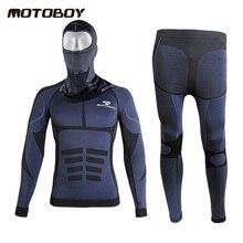 O envio gratuito de 1 conjunto de 2018 NOVO Inverno Motociclista Equitação Ciclismo Corrida de Mangas Compridas Roupa Interior e Motocicleta Máscara Completa