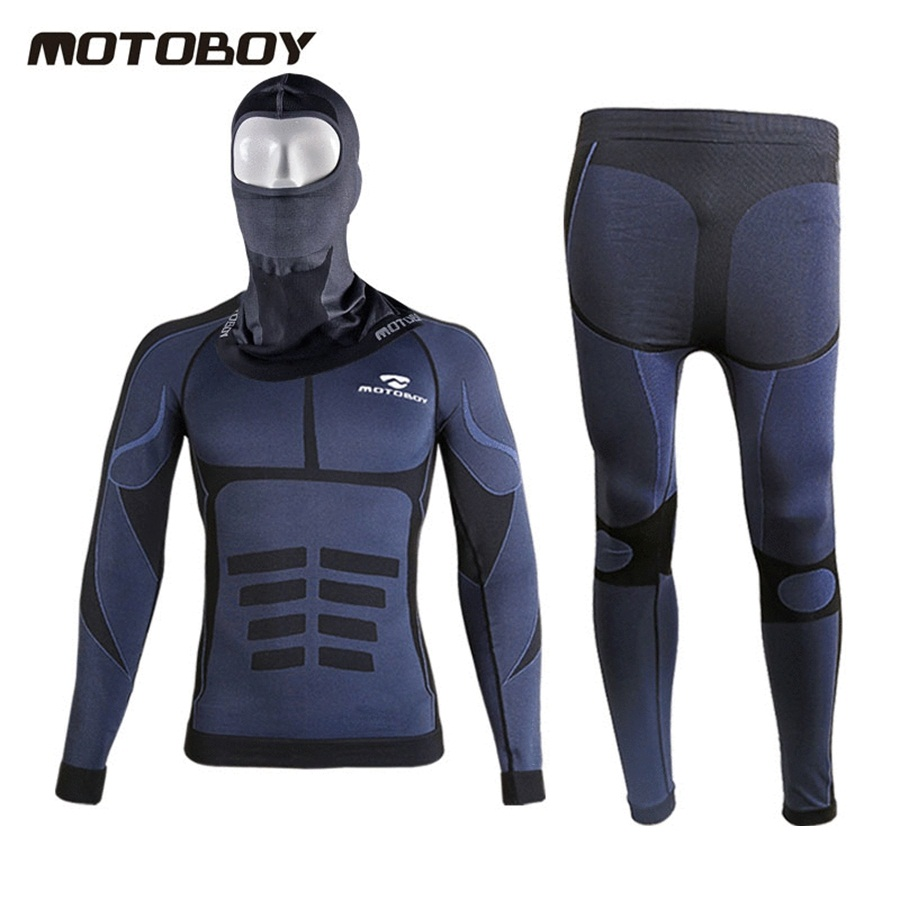 Free shipping 1set 2018 NEW Winter Motorcycle Biker Long Sleeves Riding Cycling Racing Underwear and Motorcycle Full Mask