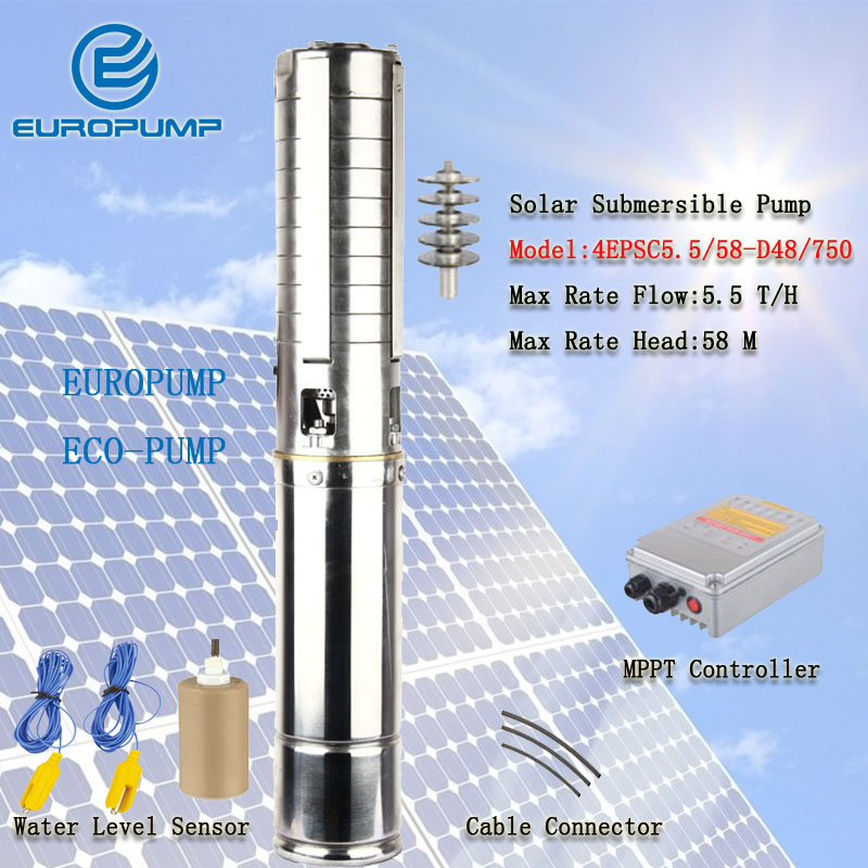 EUROPUMP MODEL(4EPSC5.5/58-D48/750) 4inch <font><b>1HP</b></font> Solar <font><b>water</b></font> <font><b>pump</b></font>, centrifugal submersible <font><b>pump</b></font>, solar <font><b>pump</b></font> AC DC Dual Brushless image