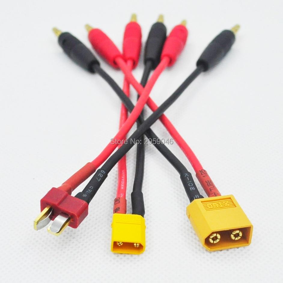 ZMR 15 cm T XT60 XT30 Enchufe a 4.0 Banana Plug RC Batería Cable de carga 14awg Cable de silicona para fpv drone kit Racing
