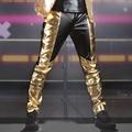 Новая Мода Бренд мужской одежды мужские брюки мужской Черный Золото Кожа Pu лоскутное кожаные штаны джазовый танец тонкий кожаный брюки