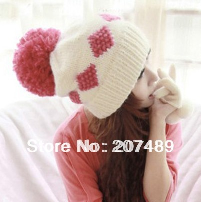 Wholesale retail ladies' fashion Knitted hat Beanie Cap Autumn Spring Winter sweet ear Protected with big fur ball white+red