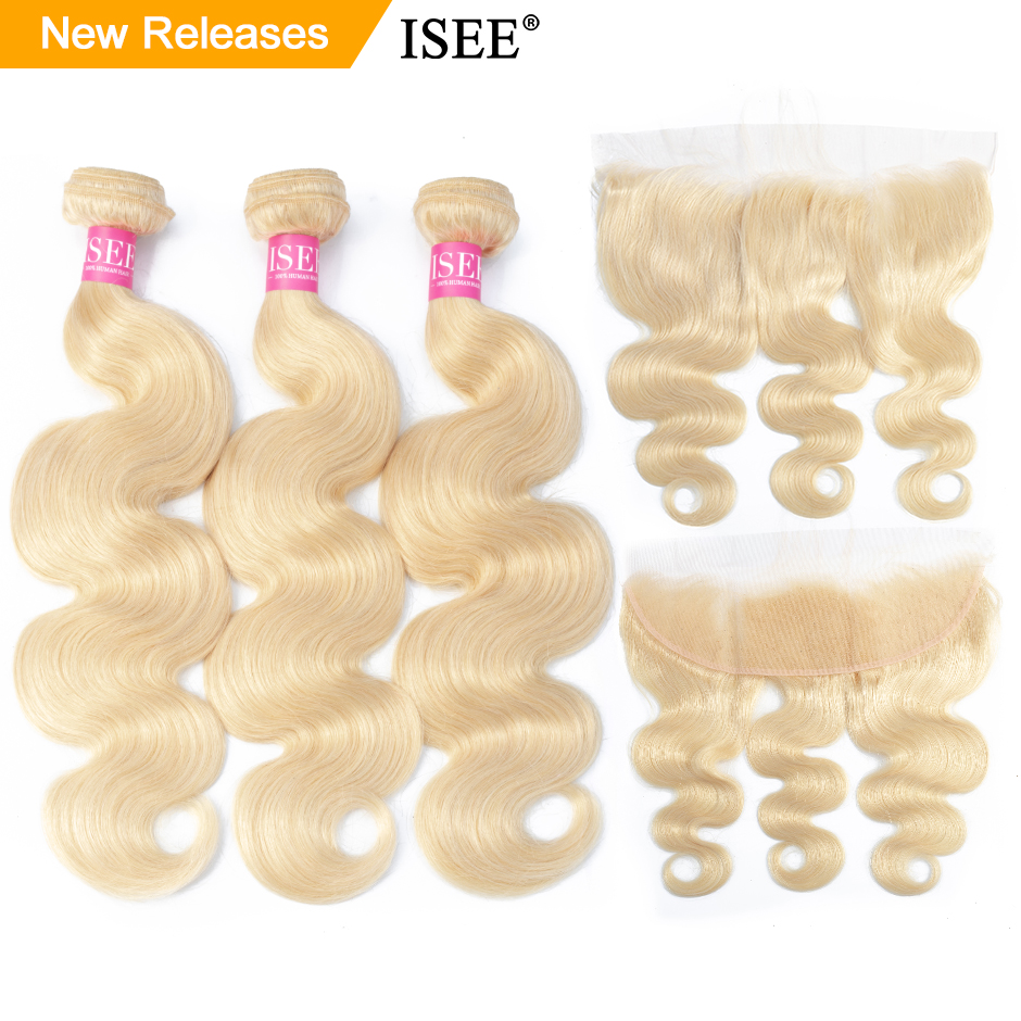 ISEE HAIR Body Wave 613 Bundles With Frontal Brazilian Hair Weave Bundles Virgin Human Hair Blonde Bundles With Closure