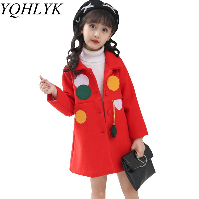 New Fashion Autumn Winter Girls Coat 2018 Korean Children Lapel Long Sleeve Woolen Overcoat Sweet Casual Kids Clothes W174 sophisticated style lapel ripple buttons long sleeve coat for women