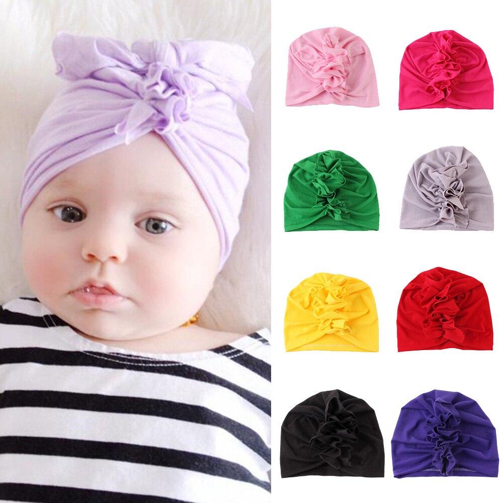 2019 New Arrivals Baby Cotton Hats Top Knot Flower Soft Beanies Hat Caps Spring Summer Newborn Kids Girls Cap Turban