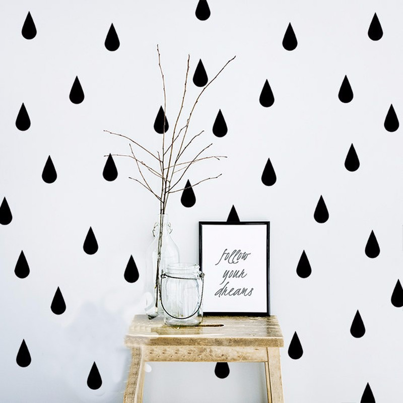 POOMOO DIY Raindrop Wall Decal Vinyls 60 Raindrop/set Wall Stickers for Kids Room Pattern Office Kitchen Decor Home Decoration