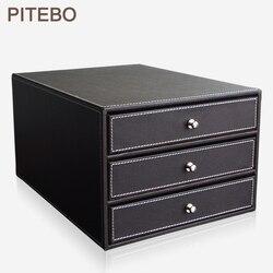 Pitebo 3 ящиками 3-х слойная Структура дерева кожаный пенал подачи шкафчик с выдвижными полками для документов/документ приспособление для хра...