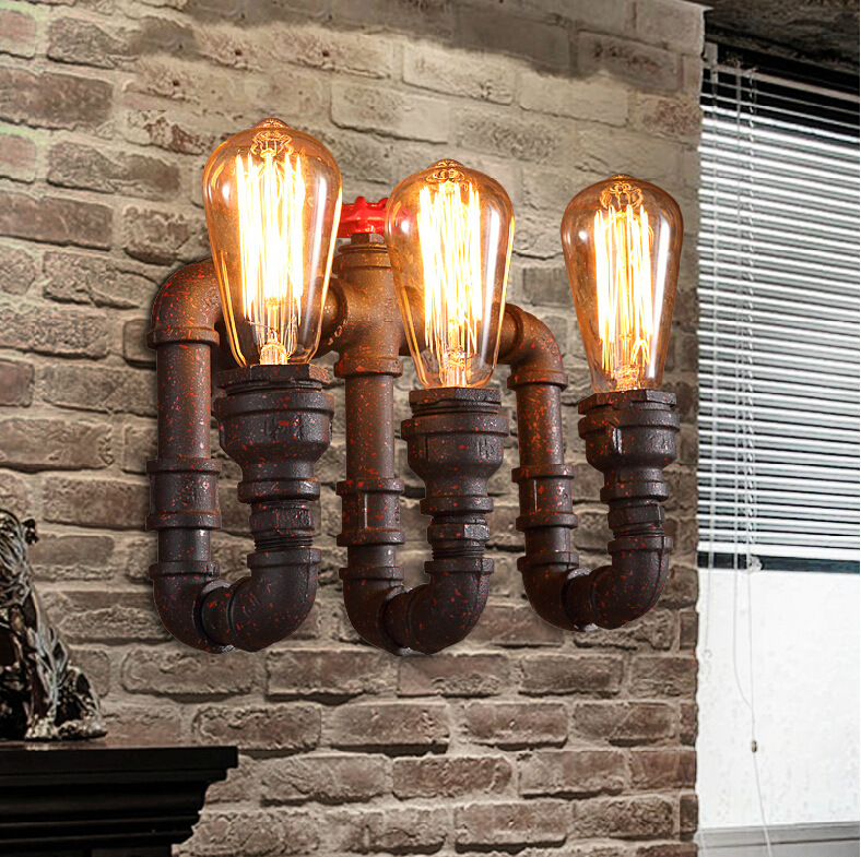 ФОТО Vintage Loft Steampunk Wall Lamp E27 Lampshade Industrial Water Pipe Wall Light Bedside Wall Sconce Light Fixture luminaria