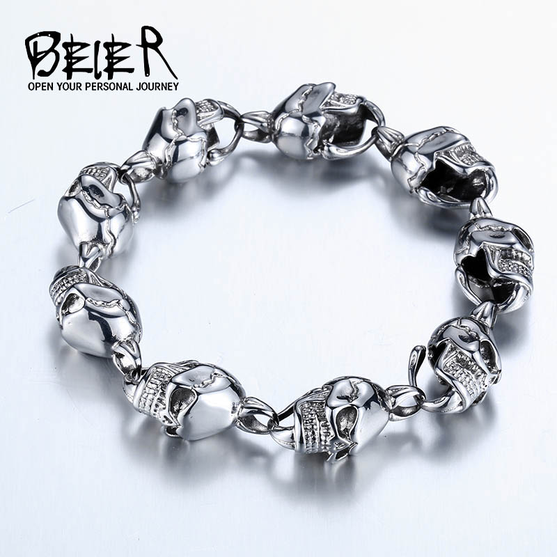 BEIER New Cool Punk Skull Bracelet For Man 316 Stainless Steel Man's High Quality Punk Rock Jewelry Good quality BC8-024