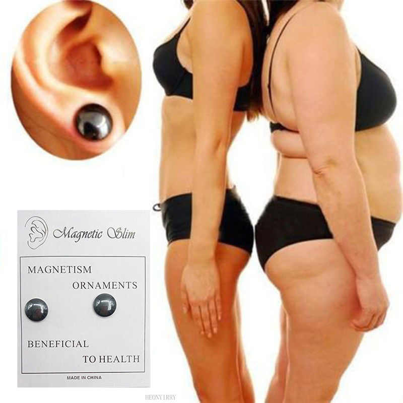 2pcs=1pair Bio Magnetic Slimming Earrings Health Care Earring Weight Loss Stimulating Acupoints Slim Stud Earring Face Lift Tool