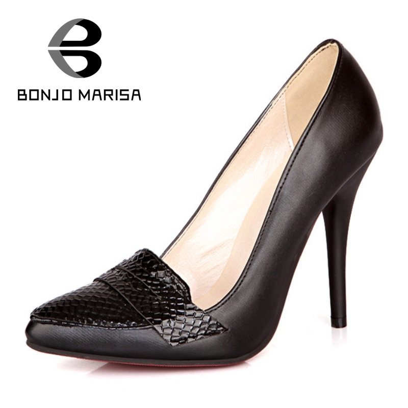 BONJOMARISA 2017 New Sexy Snakeskin Pattern PU High Heel Woman Shoes Mature Big Size Brand Thin Heel Black White Pumps Women