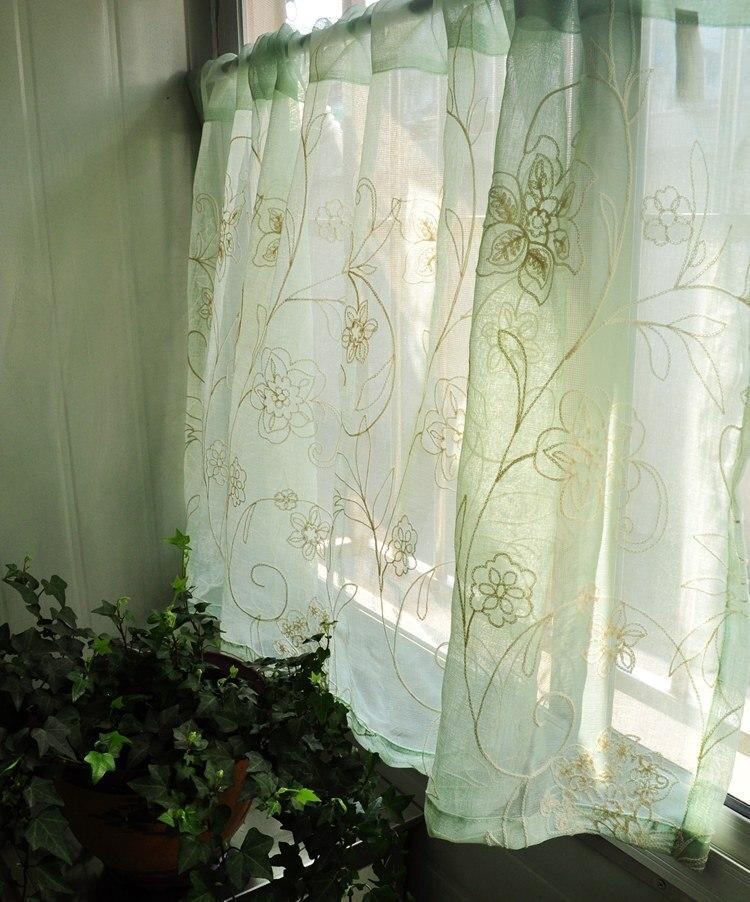 Gratis verzending Borduurwerk tule garen keuken gordijnen woonkamer - Thuis textiel