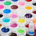 48 Colors Transparent Solid Pure Glittery hexagon UV GEL Builder Nail ART Cleanser Plus Set Tips Base Kit