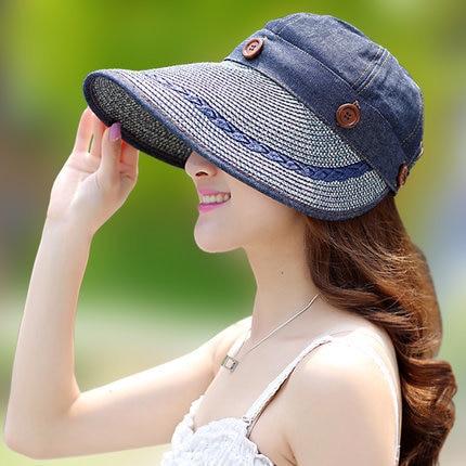 Sun Hat Ladies Wide Brim Straw Women Wide Large Brim Floppy Summer Beach A Sun Hat Straw Hat Button Cap Summer Hats For Women