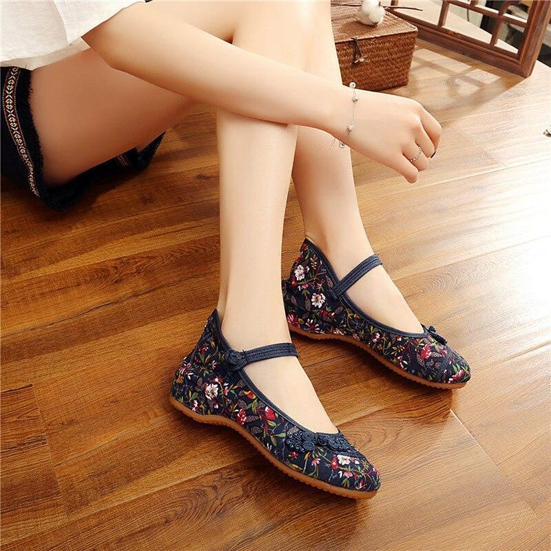 Veowalk Chinese Ruyi Knot Women Vintage Floral Canvas Ballet Flats Elegant Ladies Comfort Ballerina Shoes Woman Baleriny Shoes 3