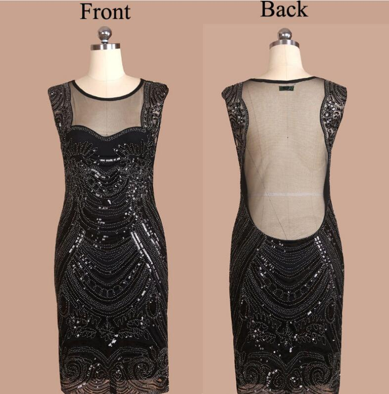 New Ladies Sexy O Neck Open Back Black Blue 1920s 1930s