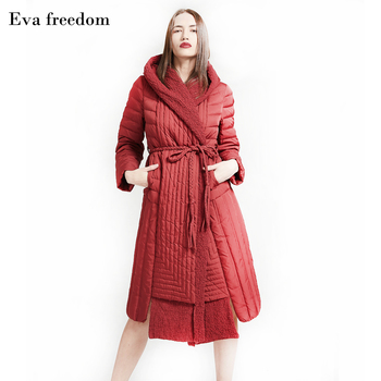 Winter new fashion brand fluffy filler hooded 95% white duck down jacket female super longer warm down coat with belt wq630