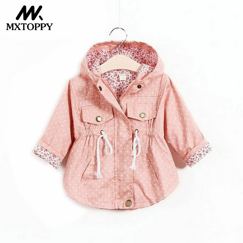 MXTOPPY Windbreaker For Girls 2018 Spring Autumn Baby Outerwear Printed Cartoon Jacket For Girls Casaco Infantil For 1-6 Years