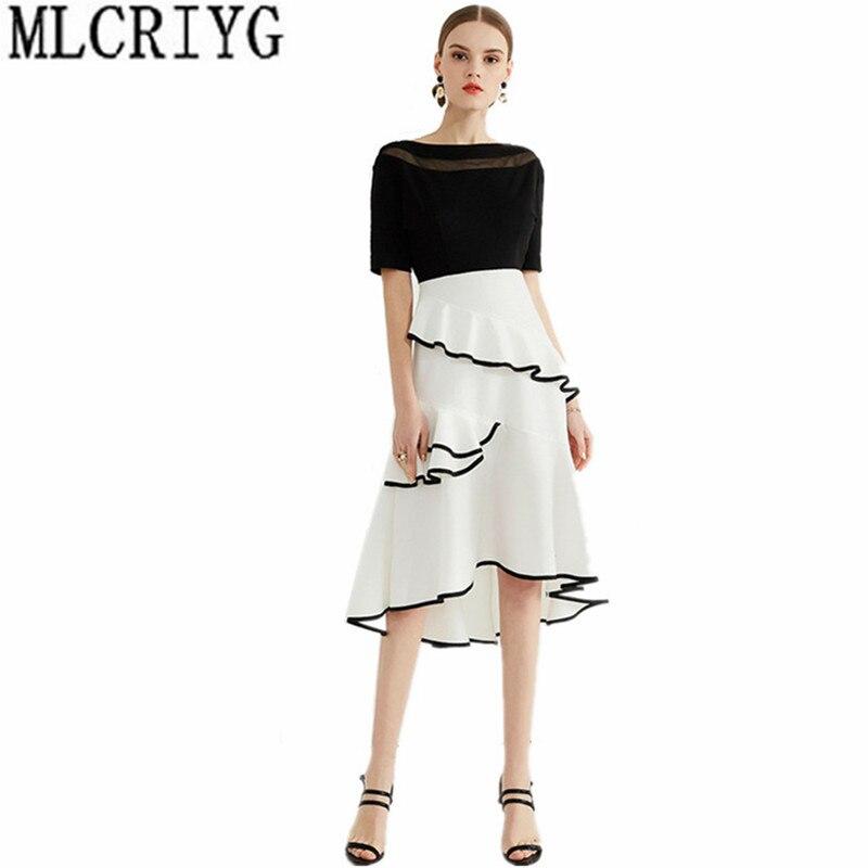 2019 élégant Robe à volants Vestidos asymétrique noir blanc Patchwork robes d'été pour les femmes soirée Robe longue Robe YQ198