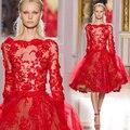 Элегантный коктейльное платье красный кружева аппликация из бисера блестки Vestidos феста длинные рукава с чай - длина ну вечеринку платья DP28