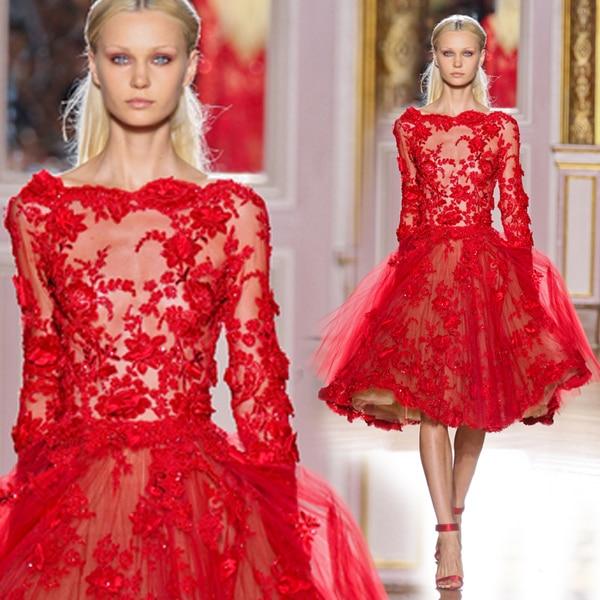 Elegant Cocktail Dress Red Lace Applique Beaded Sequins Vestidos De Festa Long Sleeves Tea-Length Party Gowns DP28