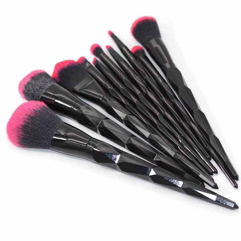 Aicebeu 10 pçs conjunto de escova de maquiagem arco-íris rosto & olho diamante profissional maquiagem kit ferramentas preto vermelho