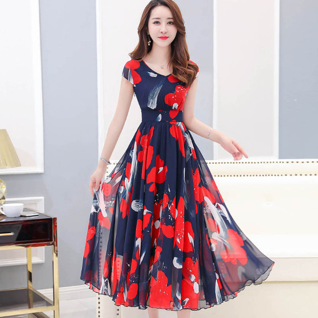 a543b5d92cb6d US $22.22 30% OFF|Women Casual Vintage Flower Print Beach Dress 2019 Summer  Women Dress Boho Bohemian Korean Flower Maxi Holiday Beach Long Dress-in ...