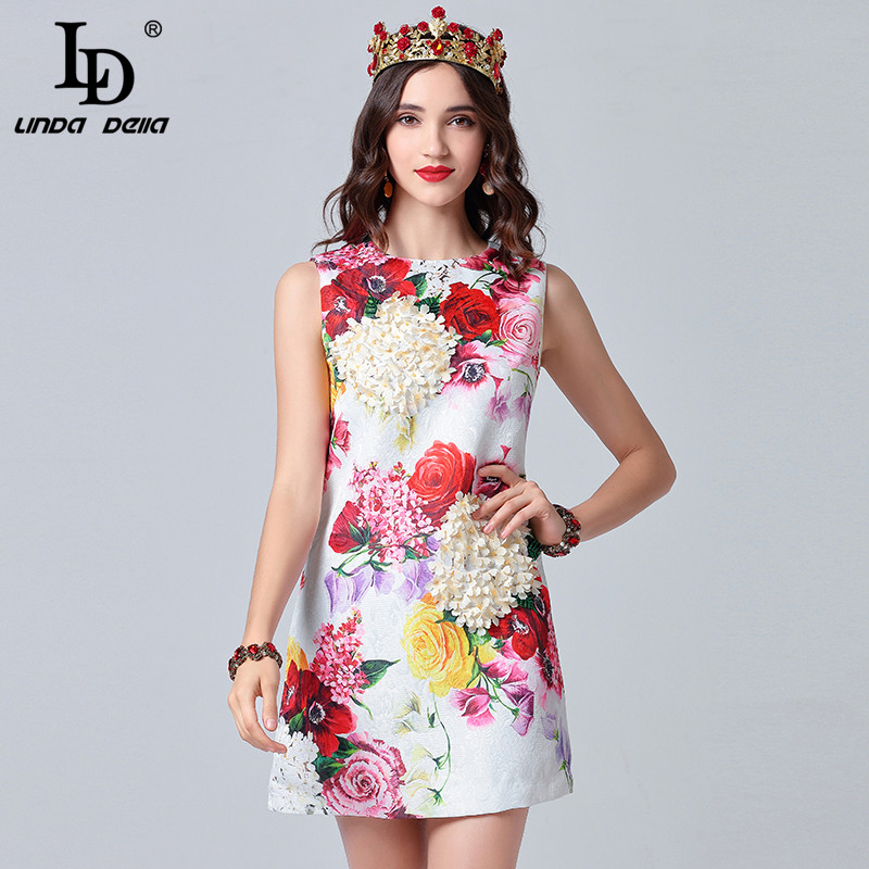 LD LINDA DELLA 2019 Fashion Runway Summer Dress Women s Sleeveless Casual White Floral Print Appliques