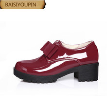 2018 New College Breeze Pure Colo High Heel Low Shoes Single Shoes Lacque Sweet Bow Women's Shoes Women's Shoes,40 41 42 43