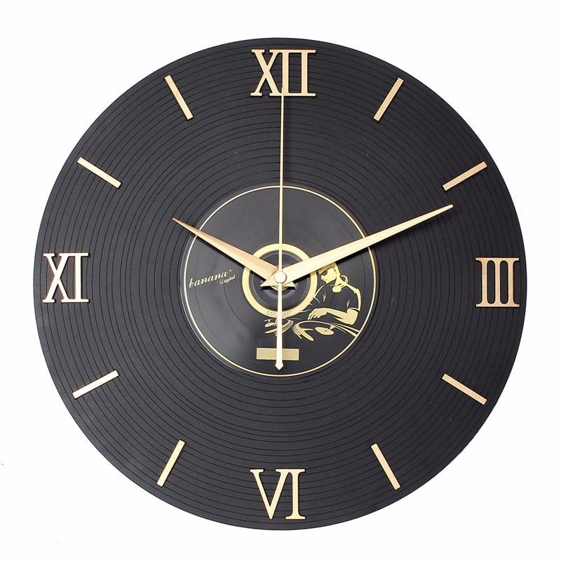 Living Room classical wall clock Antique style vinyl record clock 12 inch hanging clock needle/digital display clock