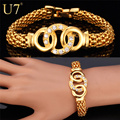 U7 Trendy Rhinestone Round Circles Cross Charm Bracelets Gold Plated Popcorn Chain Bracelets & Bangles For Women H649