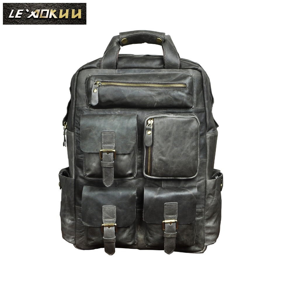 Leather Fashion Travel College School Bag Designer Male Grey Heavy Duty Large Backpack Daypack Student Laptop