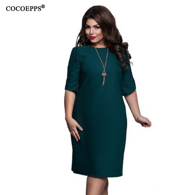 ceb713f686b81 2018 Women Summer Style Plus Size Midi Dress 5XL 6XL Straight Office Work  Dress Green Elegant Party Dress Large Size Vestidos