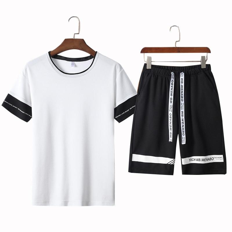 Summer Casual Sporting Suits Men Short Sleeve Set Men Tracksuit T Shirts + Shorts Male Sweat Suit Jogging Homme Clothes ,GA244